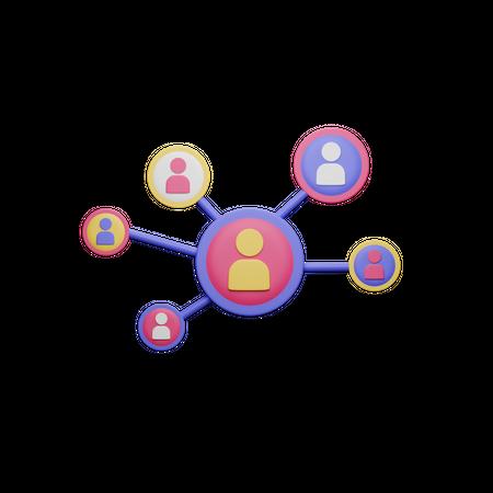 People Network 3D Illustration