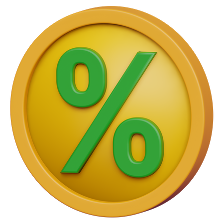 Percent Coin 3D Illustration