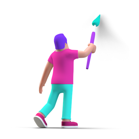 Person preparing for project 3D Illustration