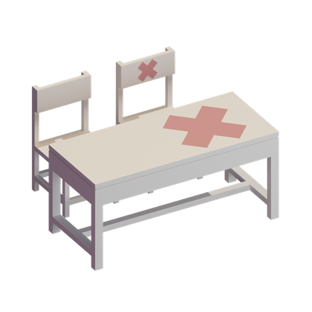 Physical Distancing in Classroom 3D Illustration