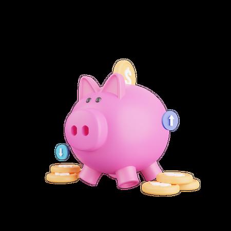 Piggy bank 3D Illustration