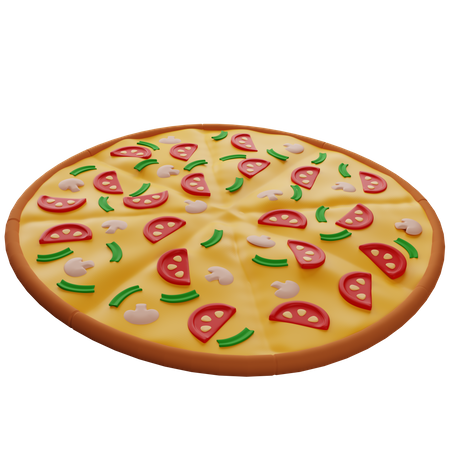 Pizza With Mushrooms 3D Illustration