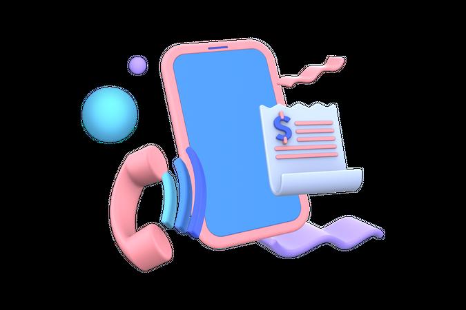 Postpaid bill payment 3D Illustration