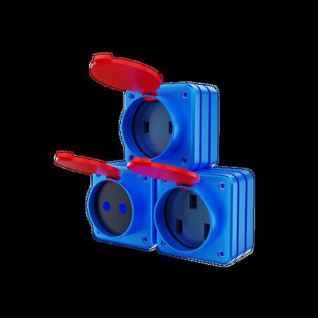 Power Socket 3D Illustration