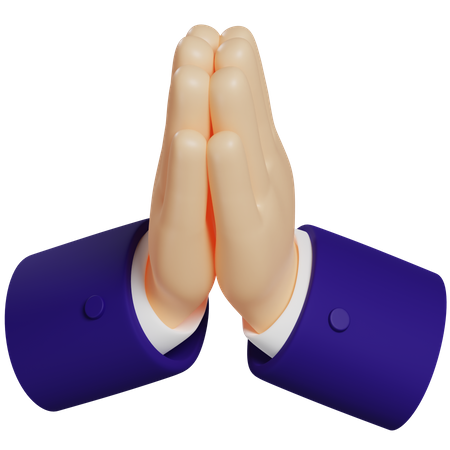 Praying Hand Gesture 3D Illustration