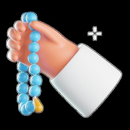 Praying with japamala 3D Illustration