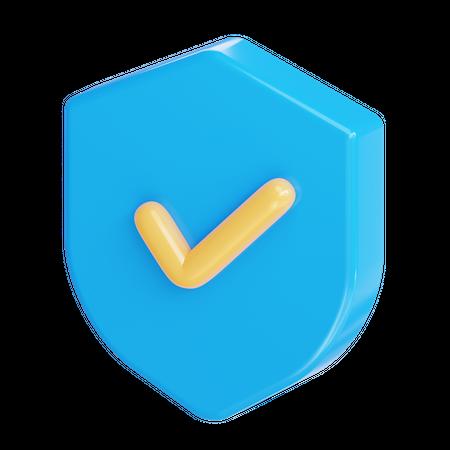 Protection shield 3D Illustration