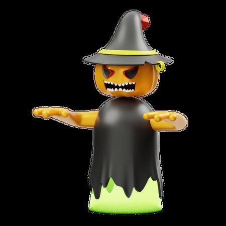 Pumpkin With Hat 3D Illustration