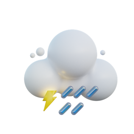 Rain And Lightning 3D Illustration