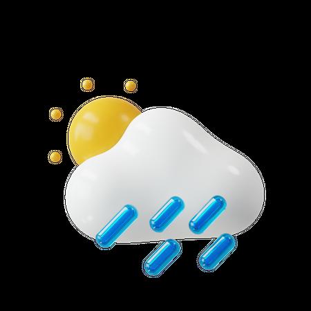Raining 3D Illustration