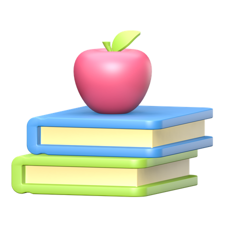Red apple on a pile of books 3D Illustration