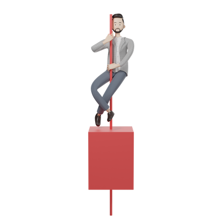 Red Candlestick 3D Illustration