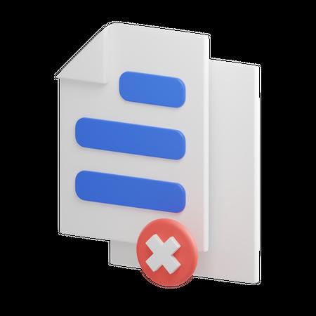Remove File 3D Illustration