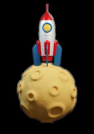 Rocket on planet earth 3D Illustration
