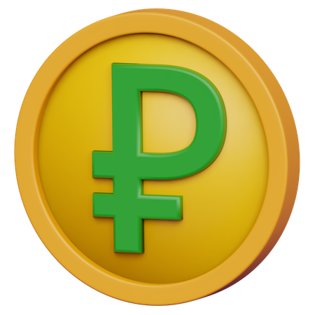 Ruble Coin 3D Illustration