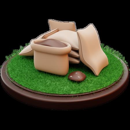 Sack Of Soil 3D Illustration