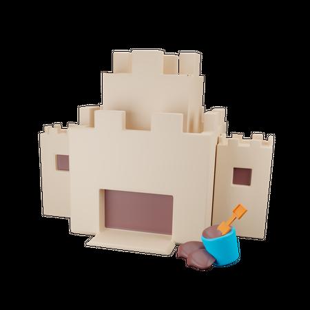 Sand Castle 3D Illustration