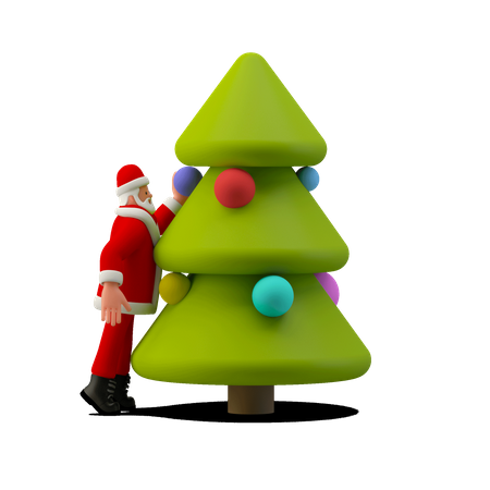 Santa Claus Decorating Christmas Tree 3D Illustration
