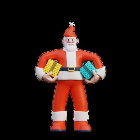 Santa Holding Presents 3D Illustration
