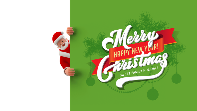 Santa looking behind merry Christmas and happy new year banner 3D Illustration