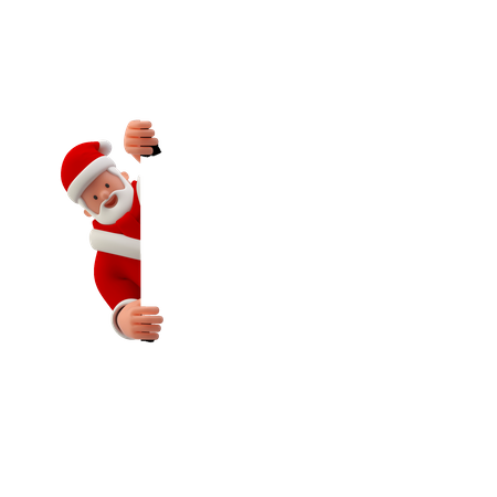 Santa looking behind white board or banner 3D Illustration