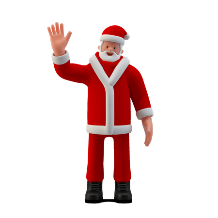 Santa saying Hi with hand sing 3D Illustration
