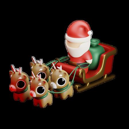 Santa Sledge 3D Illustration