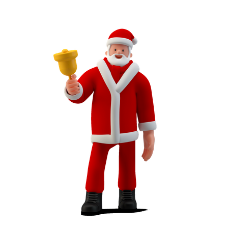 Santa Standing with Bell 3D Illustration