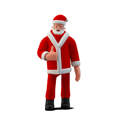 Santa Standing with thumb up sign 3D Illustration