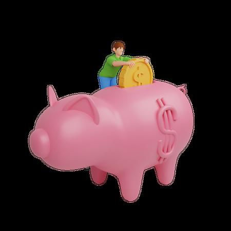 Saving money 3D Illustration