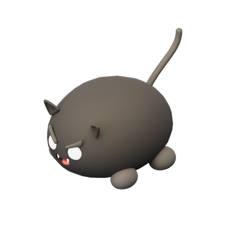 Scary Black Cat 3D Illustration