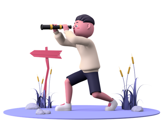 Searching with telescope 3D Illustration