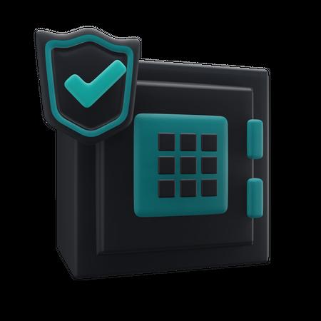 Secure Bank Locker 3D Illustration