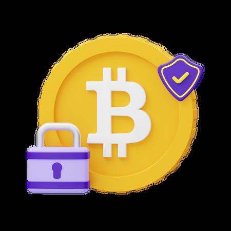 Secure Bitcoin 3D Illustration