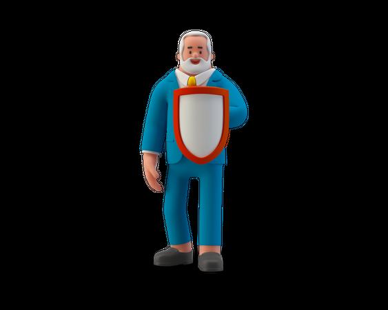 Secure businessman 3D Illustration