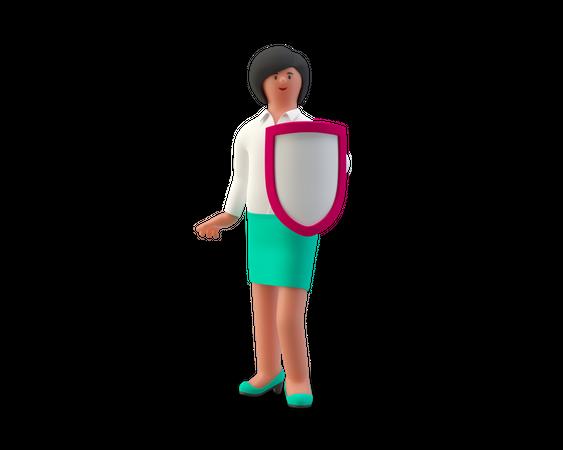 Secure Businesswoman 3D Illustration