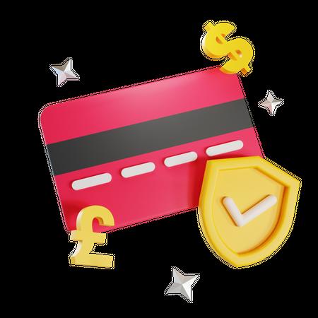 Secure Card Payment 3D Illustration
