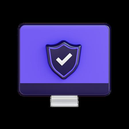 Secure Computer 3D Illustration