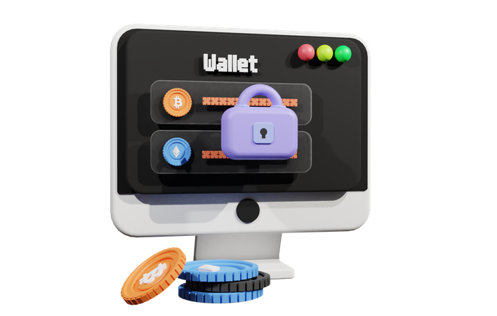 Secure Crypto Wallet 3D Illustration