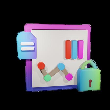 Secure Data Analytics 3D Illustration