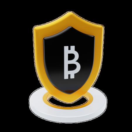 Secured cryptocurrency 3D Illustration