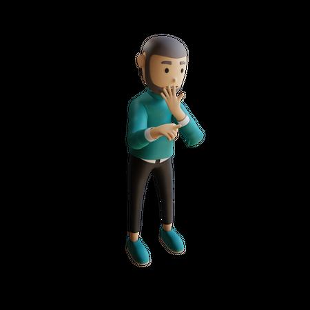Shocked Muslim Businessman 3D Illustration