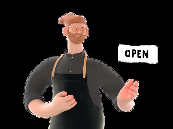 Shop owner showing open sign 3D Illustration