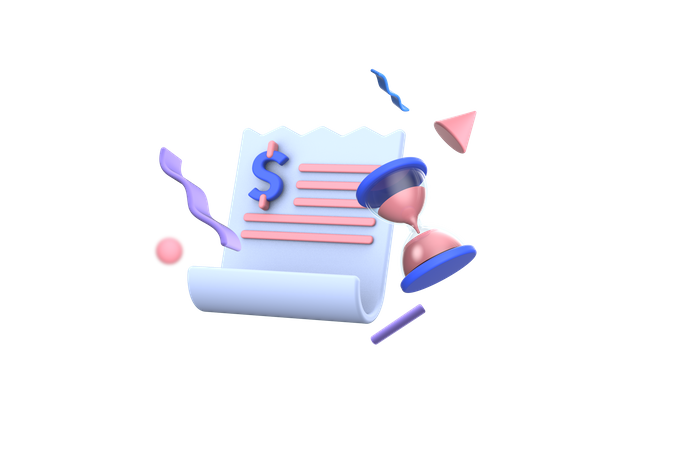 Shopping Bill Payment Due 3D Illustration