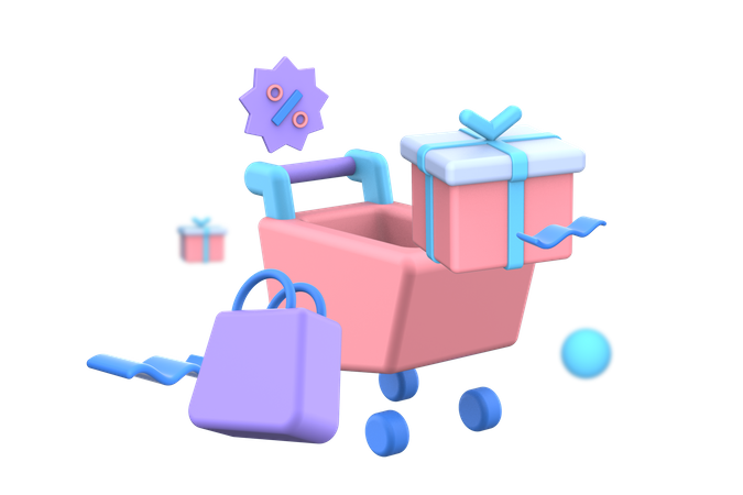 Shopping cart with gift box 3D Illustration
