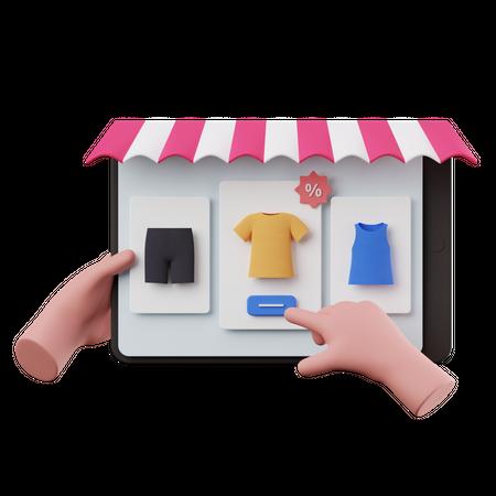 Shopping on Tablet 3D Illustration