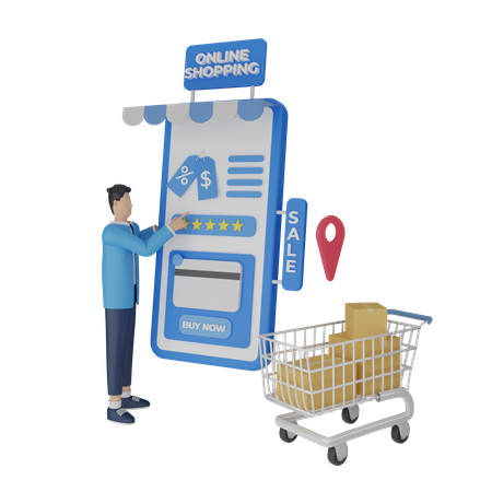 Shopping Order payment 3D Illustration