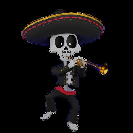 Skeleton Playing Trumpet 3D Illustration