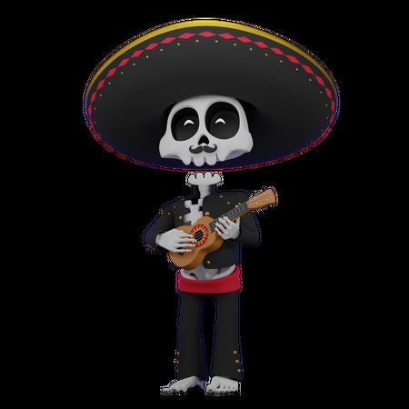 Skeleton Playing Ukulele 3D Illustration