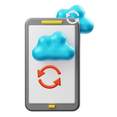 Smartphone Cloud Synchronization 3D Illustration